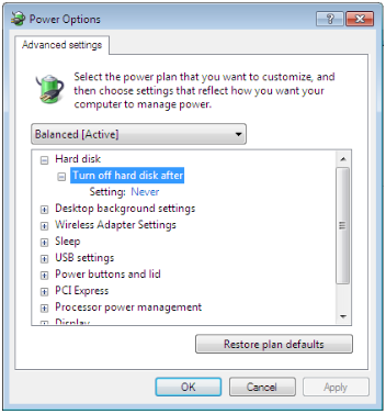 Power Options Dialog